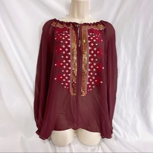 Wine red color blouse